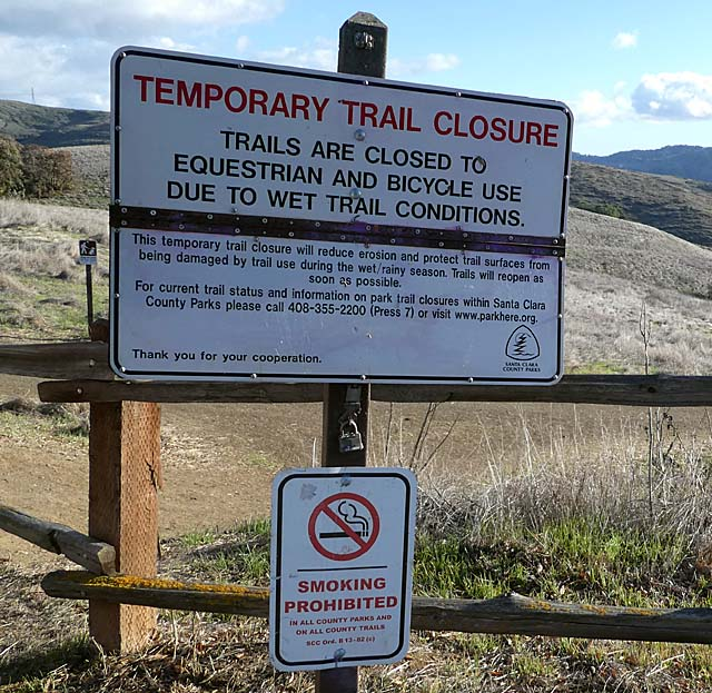 Old trail closure sign