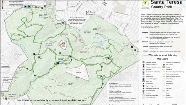 Santa Teresa Park Wide Trails Map